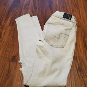 American Eagle Super Low Rise Distressed Jeans